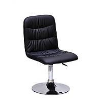 Черное кресло из эко-кожи Split CH - Base на круглой основе для салонов красоты, барбершопов, офисов