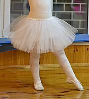 Пышная юбка из фатина для девочки белая с белой резинкой длина 31 см