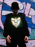 Мужская футболка черного цвета с рефлективным черепом фирмы Borsa