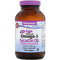 Натуральная Омега-3 из Лососевого Жира, Bluebonnet Nutrition, 180 желатиновых капсул