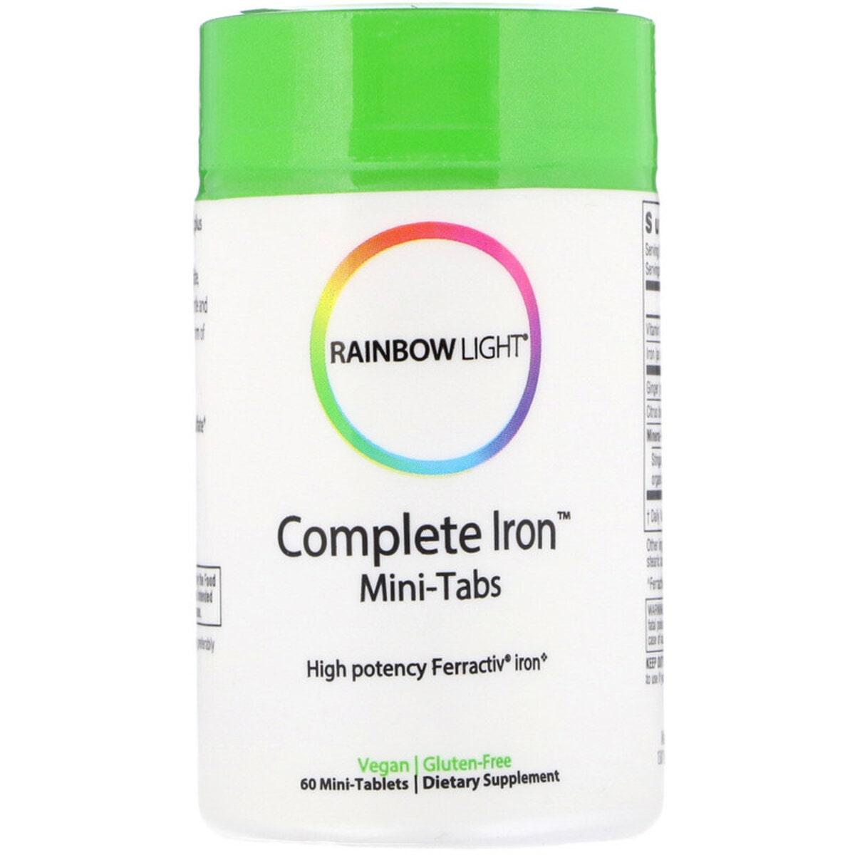 Железо, Complete Iron, Rainbow Light, 60 мини таблеток