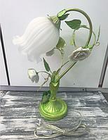 Настільна лампа Е27 30х50см зелена, антична Троянда метал/скло, фото 1
