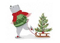 """Новогодняя открытка """"Мишка с елкой"""", фото 1"""