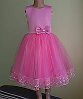 Святкова дитяча рожева сукня з бантом «Королева»