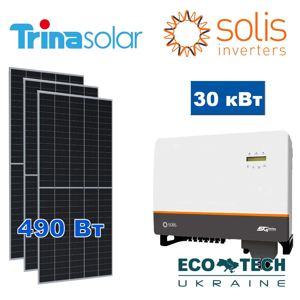 Комплект солнечной электростанции для зеленого тарифа на 30 кВт: Trina Solar и Solis + кабель и мониторинг