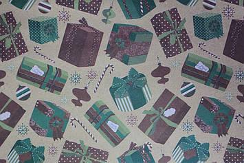 Упаковочная бумага новогодняя крафт с рисунком новогодние подарки размер 1 метр на 70 см 1 шт