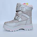 Зимние термо-сапожки от Том М девочкам, р 27 стелька 17,2 см Серебряные детские термо ботинки, фото 5
