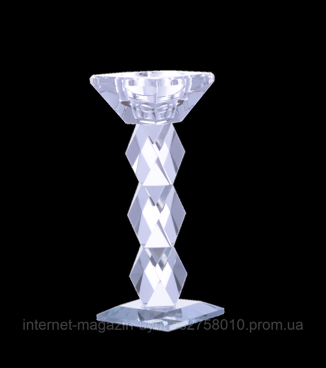 """Подсвечник стеклянный """"Crystal"""" 14см"""