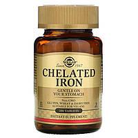 Хелатное железо, Бисглицинат железа, 25 мг, Chelated Iron, Solgar, 100 таблеток