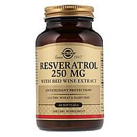 Ресвератрол с Экстрактом Красного Вина, 250мг, Resveratrol with red Wine Extract, Solgar, 60 капсул