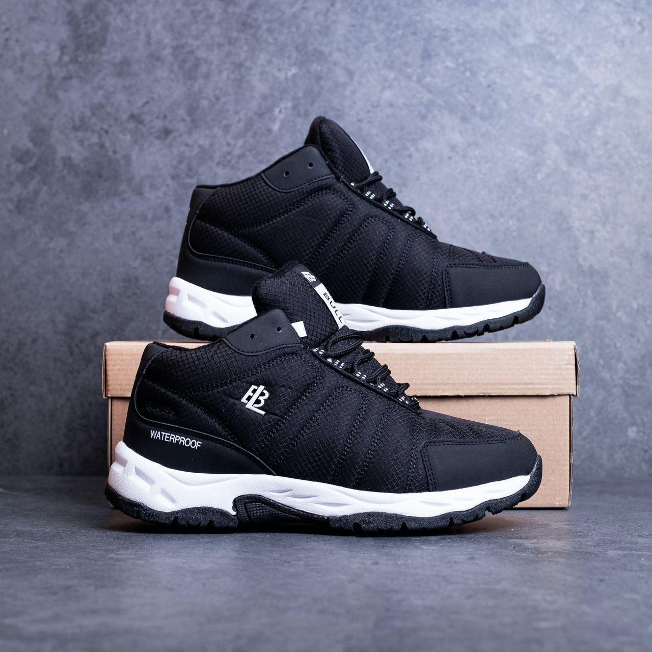 Мужские ботинки Булл Ватерпруф Pobedov (черные с белой подошвой)