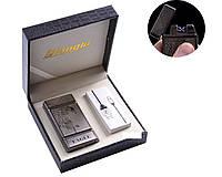 """USB зажигалка в подарочной кожаной коробке """"EAGLE"""" (Электроимпульсная - две перекрещенные молнии)"""