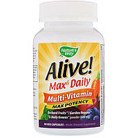 Мультивитамины Max6, Alive! Max6 Daily, Multi-Vitamin, Nature's Way 90 Капсул