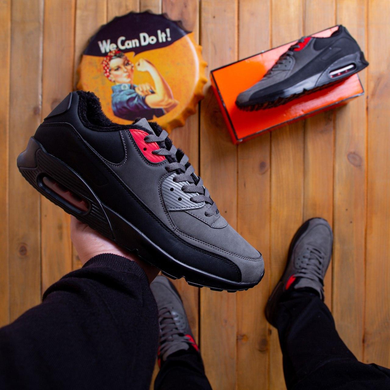 Чоловічі черевики Ривал 90 лоу Pobedov (чорно-сірі) 45