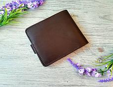 Портмоне  мужское темно-коричневое из натуральной кожи  с тиснением орел ручной работы, фото 3