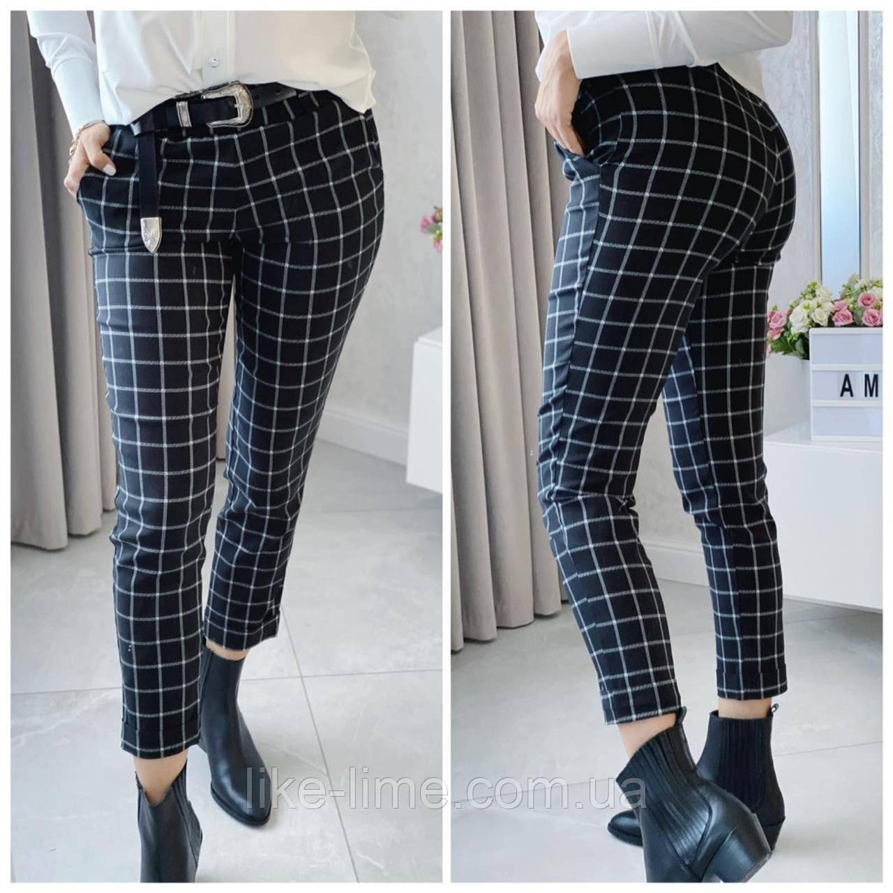 Женские брюки, джинсовые брюки в клетку