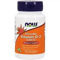 Витамин Д3 с Ментоловым Вкусом, Vitamin D-3, Now Foods, 5000 МЕ, 120 жевательных таблеток