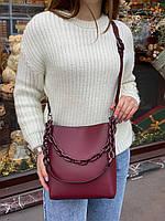 Женская кожаная вместительная сумка на и через плечо с цепочкой Polina & Eiterou, фото 2