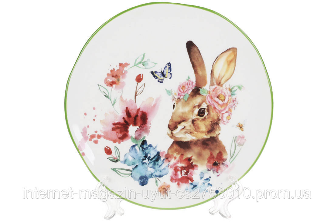"""Набор 4 тарелок керамических """"Заяц в цветах"""" 21.3см"""