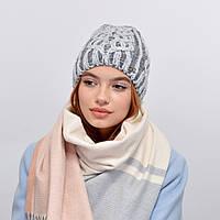 Женская шапка veilo на флисе 3340  средний серый