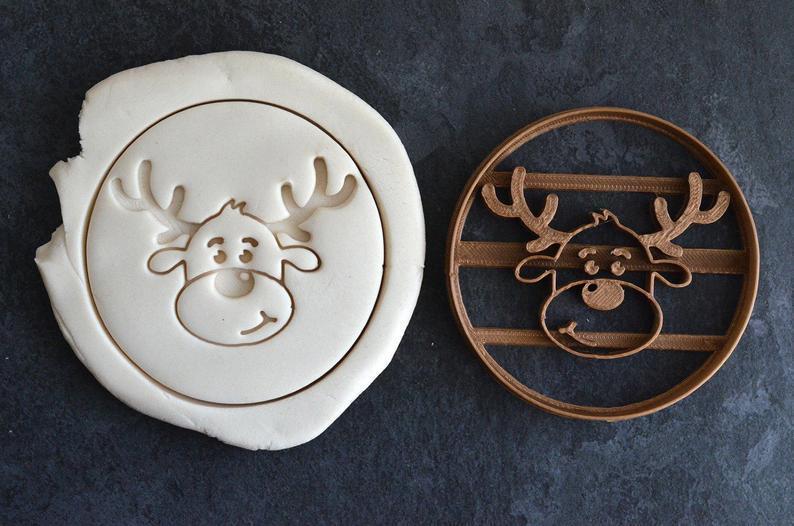 Новогодняя 3D формочка олененок в круге   Новогодняя вырубка   Вырубка для печенья новогодняя