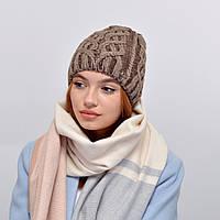 Женская шапка veilo на флисе 3340  темный беж