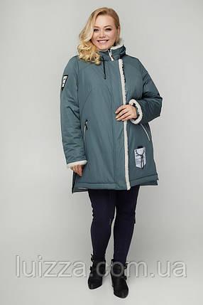 Женская куртка - парка зимняя из плащевки 50. 56р, голубой, фото 2