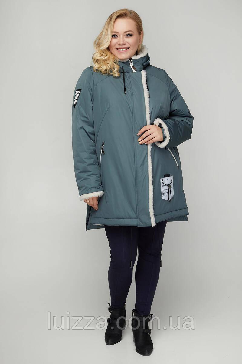 Женская куртка - парка зимняя из плащевки 50. 56р, голубой