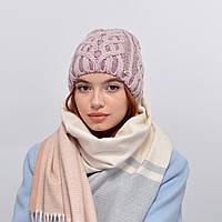 Женская шапка veilo на флисе 3340 пудра