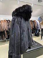 Норковая шуба размер L c капюшоном черного цвета скандинавская норка
