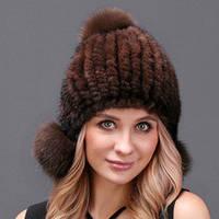 Женская норковая шапка с бубоном из лисы, коричневая, фото 1