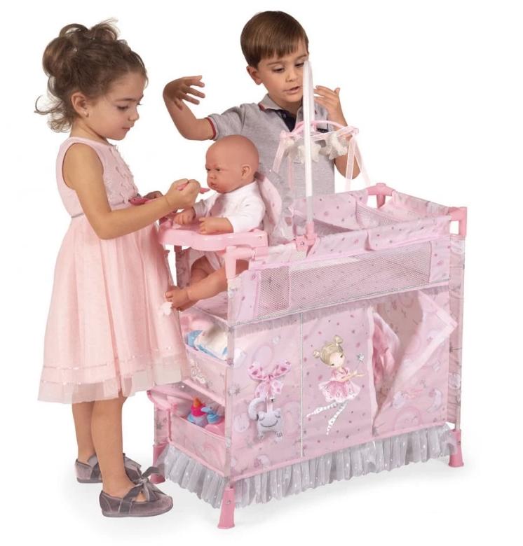 Детский металлический манеж для куклы со стульчиком для кормления и каруселью с подвесками 53034