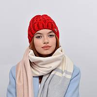 Женская шапка veilo на флисе 3340 красный