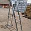 Лестница шарнирная трансформер четырехсекционная алюминиевая, фото 8