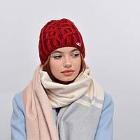 Женская шапка veilo на флисе 3340 бордо