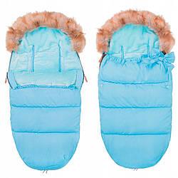 Детский конверт для коляски, санок, переносок и кроваток 4 в 1 Springos SB0015 Sky Blue голубого цвета