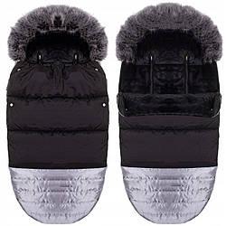 Детский конверт для коляски, санок, переносок и кроваток 4 в 1 Springos SB0018 Black/Silver черного цвета