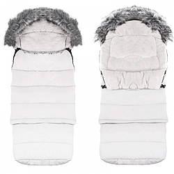 Детский конверт для коляски, санок, переносок и кроваток Maxi 4 в 1 Springos SB0025 White белого цвета