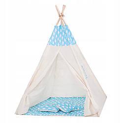 Детская палатка (вигвам) Springos Tipi XXL TIP05 White/Sky Blue 120x100х160 см для дома и улицы