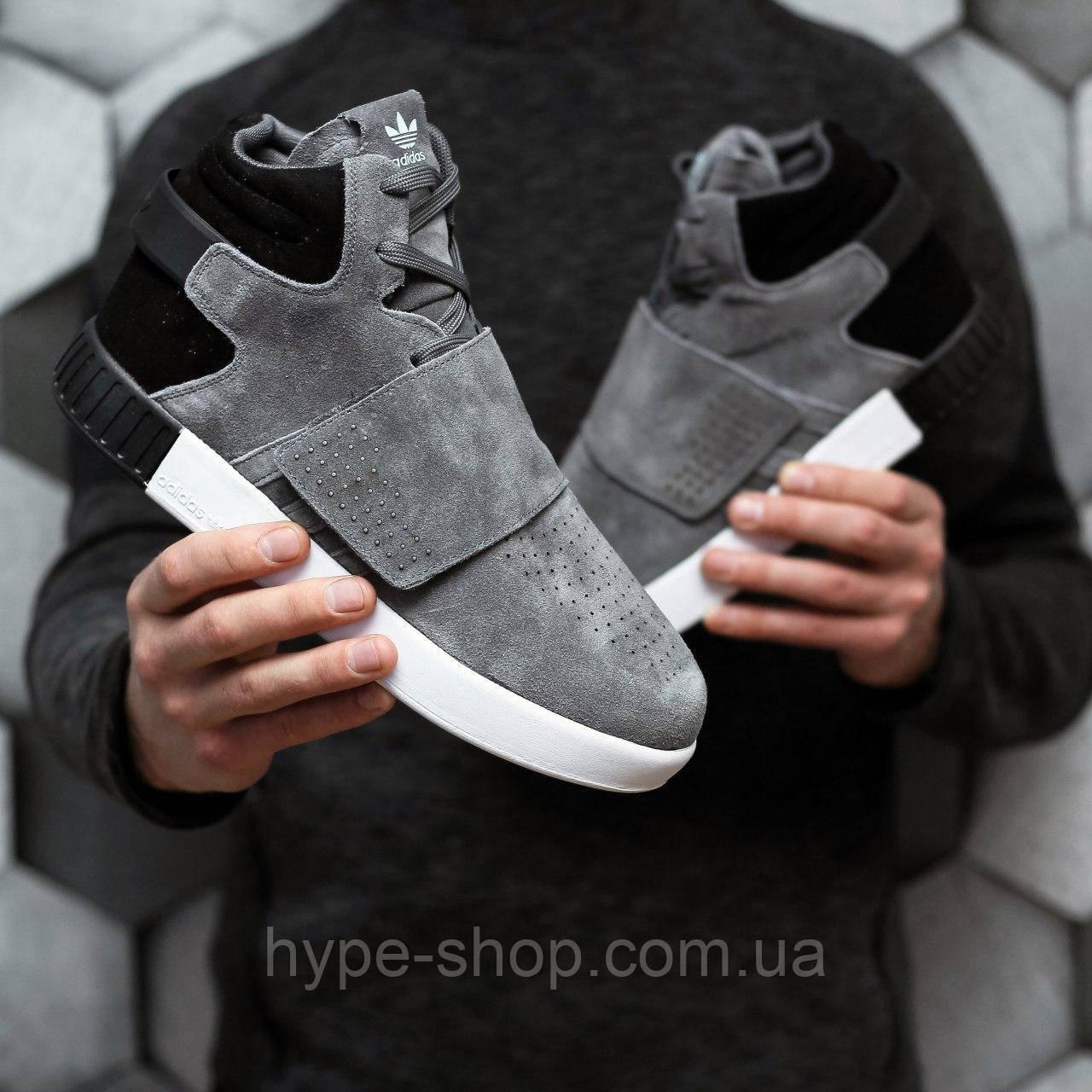 Зимние кроссовки Adidas Tubular серый реплика