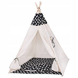 Детская палатка (вигвам) Springos Tipi XXL TIP01 White/Black 120x100х160 см для дома и улицы