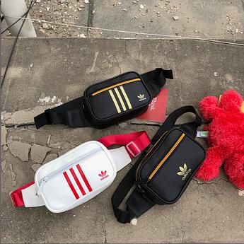 Поясная сумка Adidas из PU кожи. Бананка на пояс Adidas.