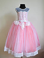 Нарядное бальное платье на девочек 5-7 лет пышное детское, розового цвета, фото 1