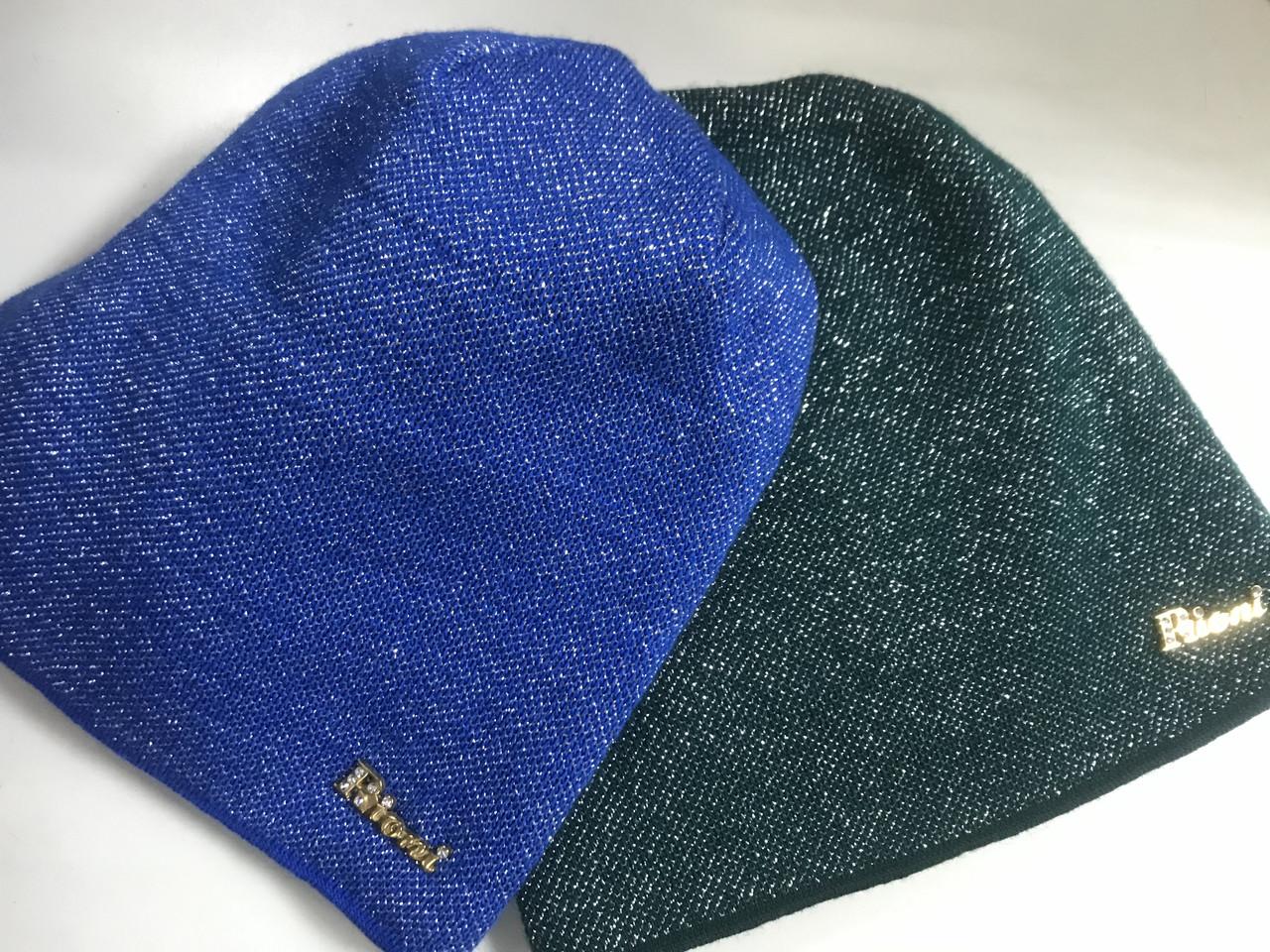 Жіноча шапка в'язана на флісі кольору бежева яскраво синя і зелена