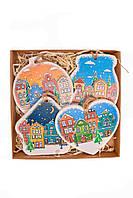 """Новогодние игрушки на елку набор 4 шт, """"Домики"""" экологичные деревянные новогодние украшения"""