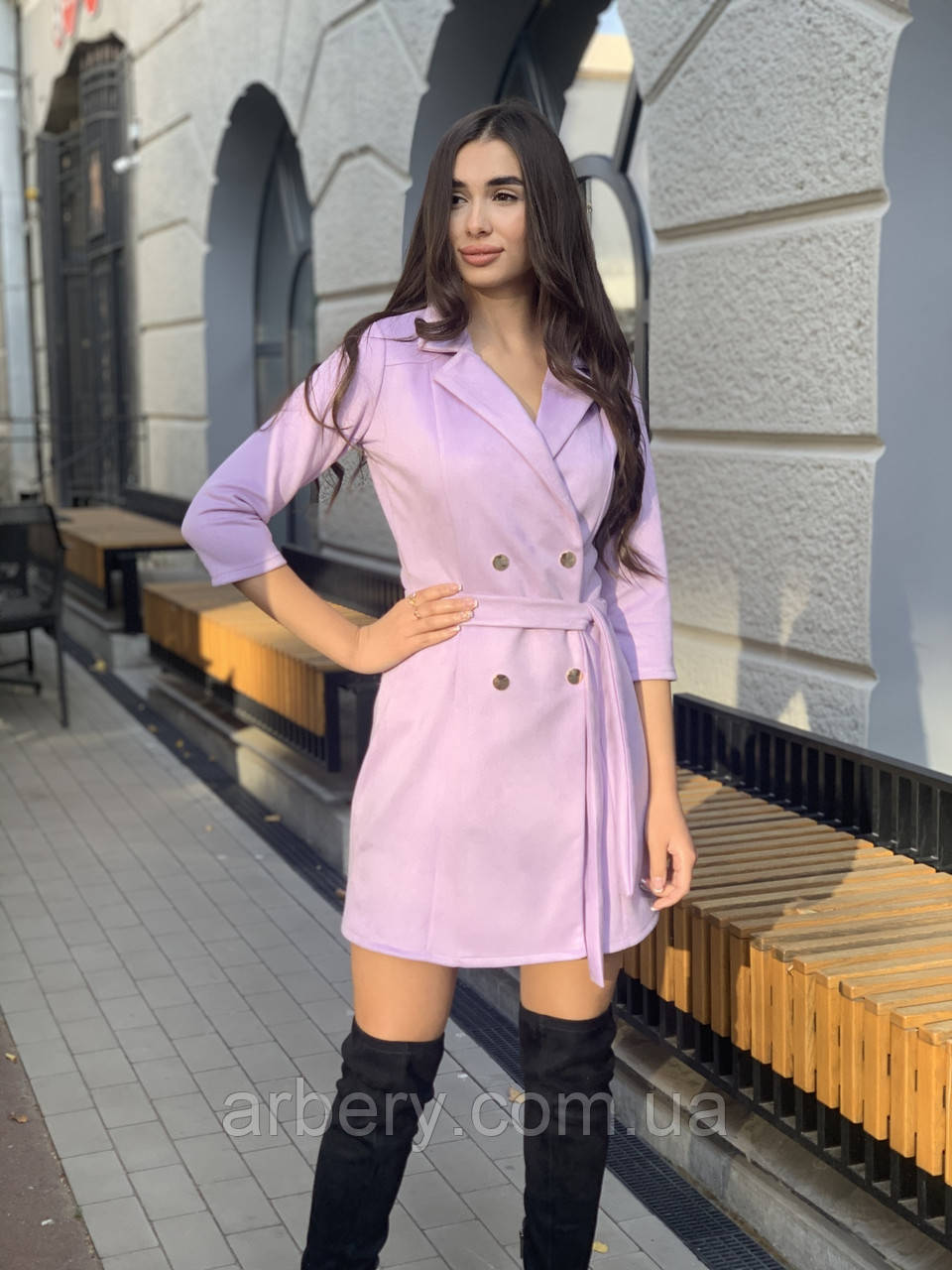 Женское замшевое платье-жакет