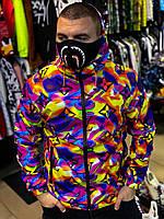 Куртка мужская лёгкая разноцветная с надписями молодежная с капюшоном ветровка мужская яркая с надписями LV