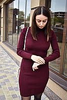 Женское платье теплое бордовое