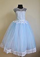 Нарядное бальное платье на девочек 5-7 лет пышное детское, голубого оттенка, фото 1