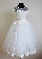 Нарядное бальное платье на девочек 5-7 лет пышное детское, белого цвета, фото 1